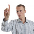 Handsome young business man touching screen isolated — Stock Photo