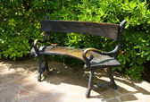 Close-up garden bench — Stock Photo