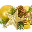 Stock Photo: Golden christmas decorations