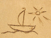Drawing on the sand — Stock Photo