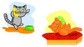 Cats speak on telephone — Stock Vector