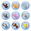 Stock Vector: Buttons farm pets