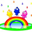 Royalty-Free Stock Vector Image: Birds and rainbow