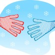 Shaking hands winter — Stock Vector