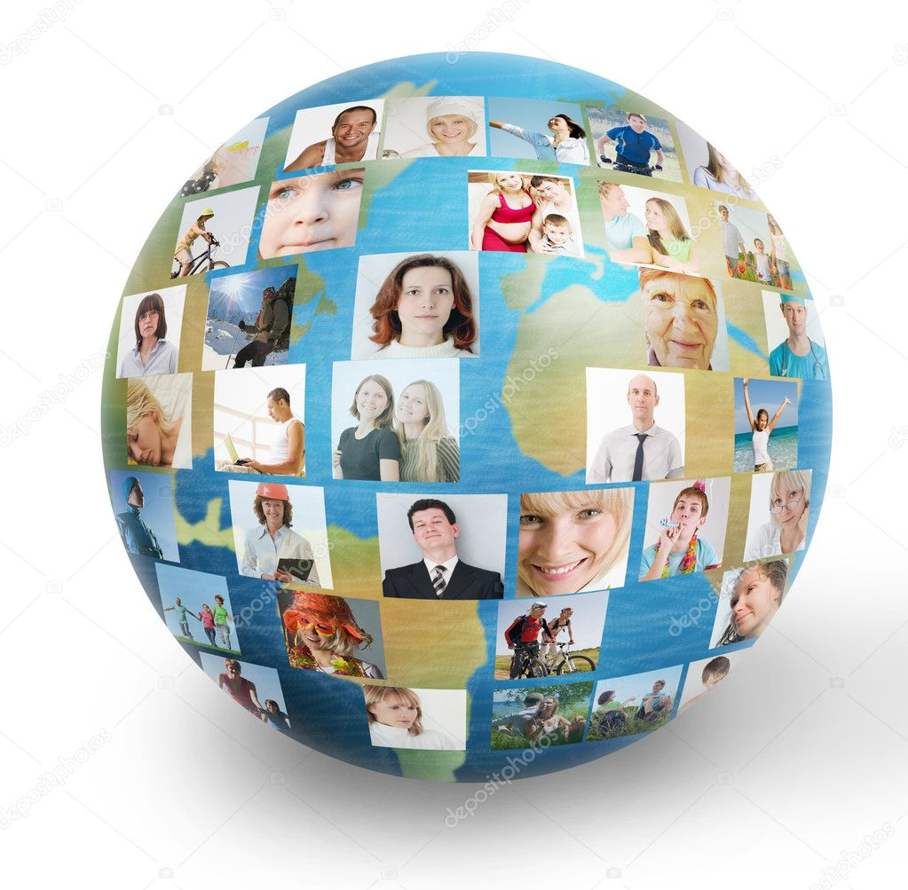 Social network collage with many  Stock Photo #7257775