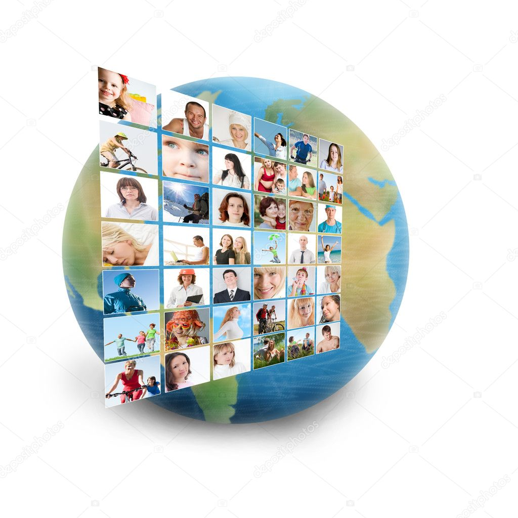 Social network collage with many — Foto Stock #7257781