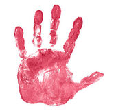 Red hand print isolated on white — Stock Photo