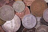 Copper and silver coins background — Stock Photo