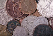 Copper and silver old coins background — Stock Photo