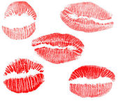 Red lips imprints collection — Stock Photo
