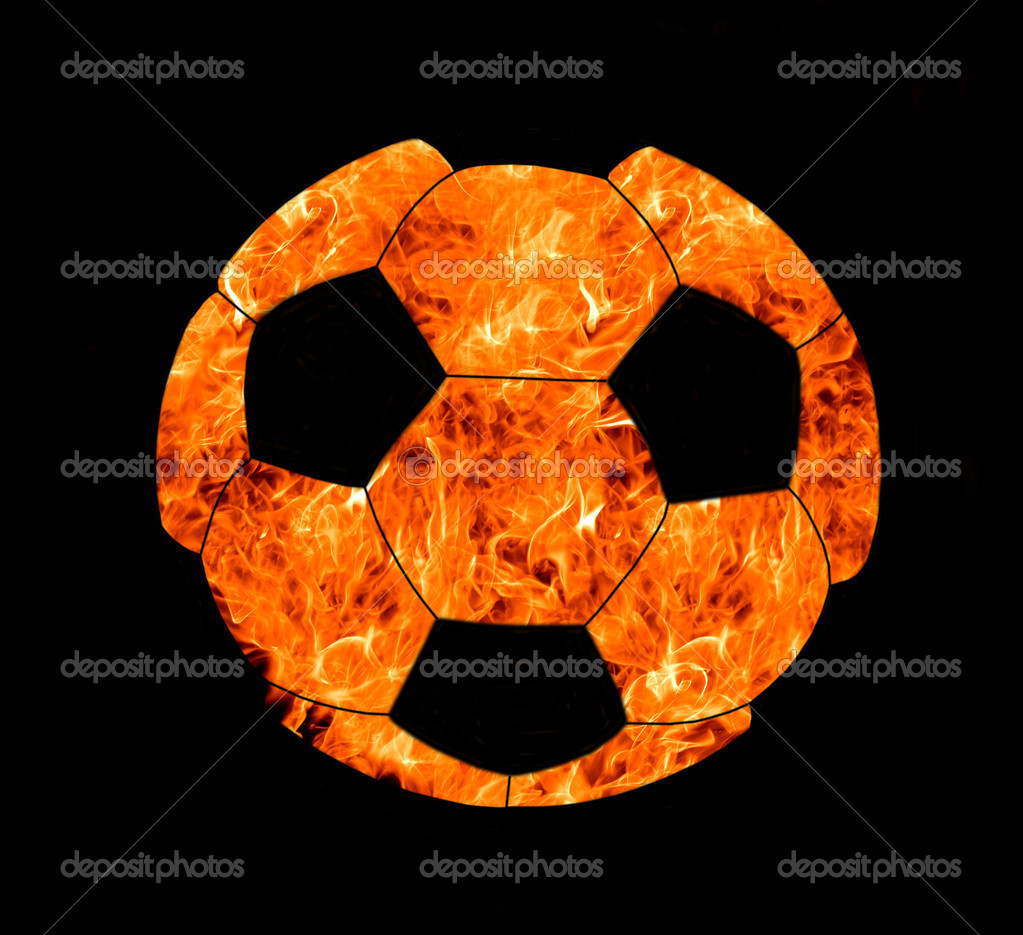 Soccer ball in flame on black background — Stock Photo #6785057
