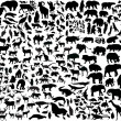 Enormous animals silhouettes collection — Stockvektor