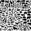 Enormous animals silhouettes collection — Imagen vectorial