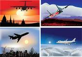 Quattro composizioni con gli aerei nel cielo — Vettoriale Stock