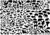Enorme dieren silhouetten collectie — Stockvector