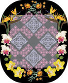 Abstract decoration in orchid flowers frame — Cтоковый вектор