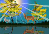 Deers in yellow forest near lake — Stock Vector