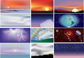 Set of twelve different skies — Stock Vector