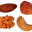 Set of four different nuts — Stock Photo