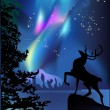 Deer under aurora illustration — Stok Vektör