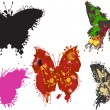 Five painted butterflies on white - Stockvectorbeeld