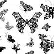 Decorated black butterflies collection — Stock Vector