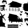 Set of village buildings and animals isolated on white — Stock Vector