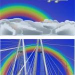 Rainbow above new modern bridge and under plane — Stock Vector #7199480