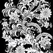 Symmetric floral white pattern isolated on black — Stock Vector