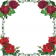 Beautiful isolated red rose frame pattern — Stock Vector
