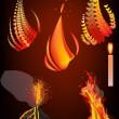 Different flame on dark background - Stock Vector
