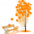 Stock Vector: Orange fall maple and bench illustration