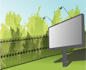 Billboard near green park fence — Stock Vector