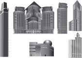 Six grey modern buildings — Stock Vector