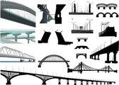Set of isolated bridges — Stock Vector