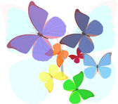 Rainbow colors butterflies illustration — Stock Vector