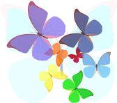 Rainbow colors butterflies illustration — Stock Vector