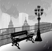 雨下的长凳和街灯 — 图库矢量图片