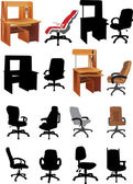 Office furniture collection — Stock Vector