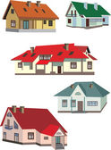 Set with fivw cottages isolated on white — Stock Vector