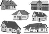 Six grey cottages isolated on white — Stock Vector