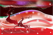 Red Christmas illustration with deers — Stock Vector