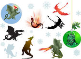 Dragons and snowflakes — Stock Vector