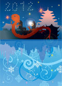 New year illustration with red dragon — Stock Vector