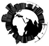City on terrestial globe illustration — Stock Vector