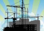 Zonneschijn en woningbouw — Stockvector