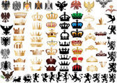 Large set of crowns and heraldic animals — Stock Vector