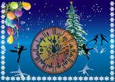 Modèle avec horloge de nouvel an — Vecteur