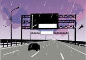 Single car on rainy street — Stock Vector