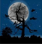 Birds and dead tree at full moon — Stock Vector